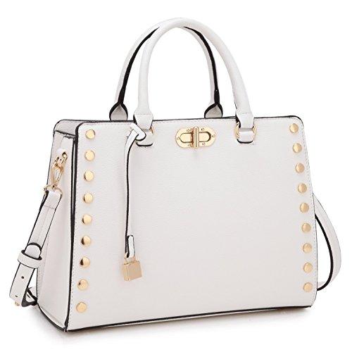 White Satchel Handbags - 6