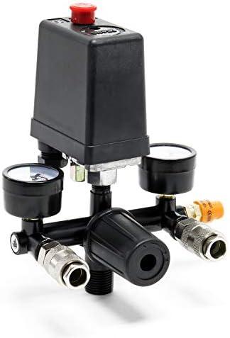 Druckregler mit Druckschalter für Kompressor mit 2 Anzeigen