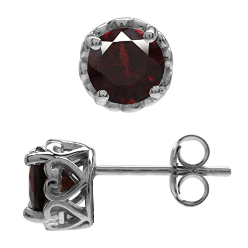 (1.9ct. Natural Garnet White Gold Plated 925 Sterling Silver Victorian Style Stud/Post Earrings)