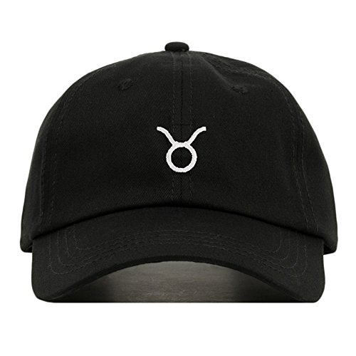 Taurus Dad Hat, Embroidered Baseball Cap, 100% Cotton, Unstructured Low Profile, Adjustable Strap Back, 6 Panel, One Size Fits Most (Multiple Colors) (Black) ()