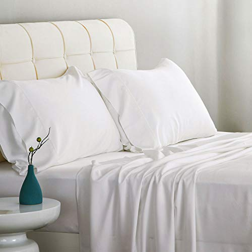 White Bamboo 100% - Bedsure Bamboo Bed Sheet Set Queen Size White 100% Bamboo Viscose Bed Linen in Gift Box