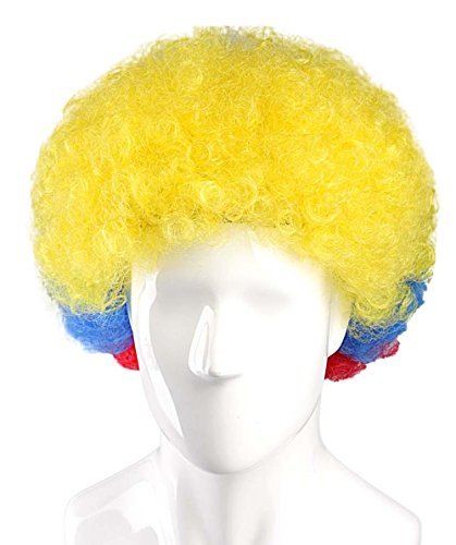 Halloween Party Online Ecuador National Team Country Flag Afro Cosplay Party Costume Wig, (Ecuador National Costume For Men)