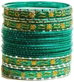 Brazalete India Makive 24 Pulseras Verde Esmeralda Dorado 7cm con bindis Bollywood Sari joyería