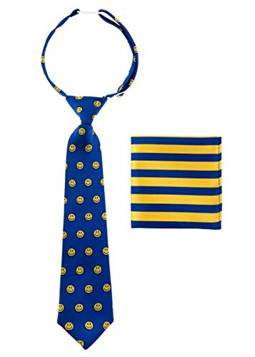 Canacana Smiley Emoji Woven Microfiber Pre-tied Boy's Tie with Stripes Pocket Square Gift Box Set - Blue and Yellow - 8 - 10 years, Christmas (Blue Stripe Silk Boys Tie)