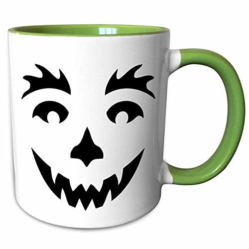 3dRose Anne Marie Baugh - Halloween - Cute Black Smiling Halloween Pumpkin Face - 11oz Two-Tone Green Mug (mug_216820_7) (Halloween Pumpkin Faces Pics)