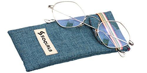 SOOLALA Thin Metal Unique Diamond Shape Reading Glasses Prescription Eyeglass Frame, Silver, - Glasses Shape Male Diamond Face
