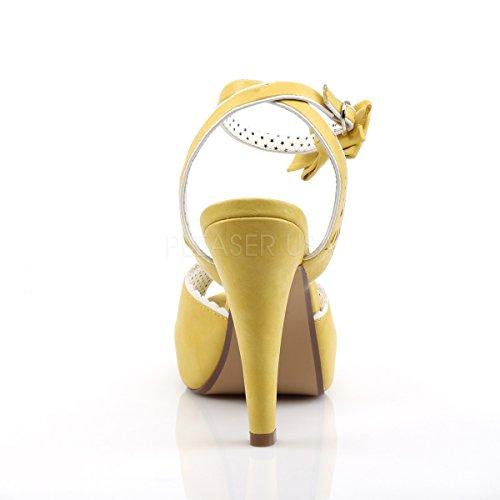 Pin Up Couture Damen Plateau Peep Toe Sandaletten Sandalen Bettie-01 gelb Gelb