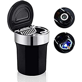 uhmhome Car Ashtray with Lid Portable Smokeless Ash Holder with Blue LED Light for Home//Office