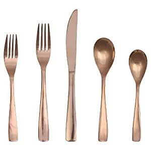 new 5 piece vivian rose gold flatware set flatware sets. Black Bedroom Furniture Sets. Home Design Ideas