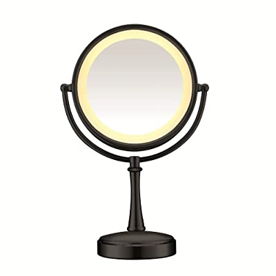 Conair Round Shaped 3-Way Touch Control Double-Sided Lighted Makeup Mirror; 1x/7x magnification