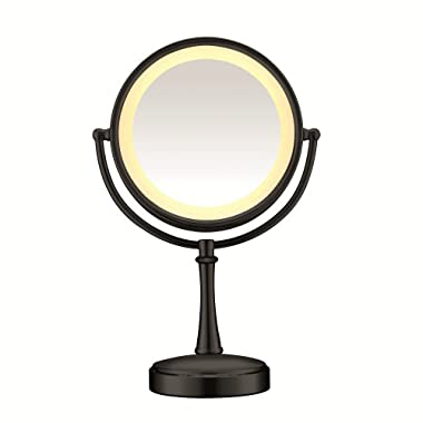 Conair Round Shaped 3-Way Touch Control Double-Sided Lighted Makeup Mirror; 1x/7x magnification; Matte Black Finish