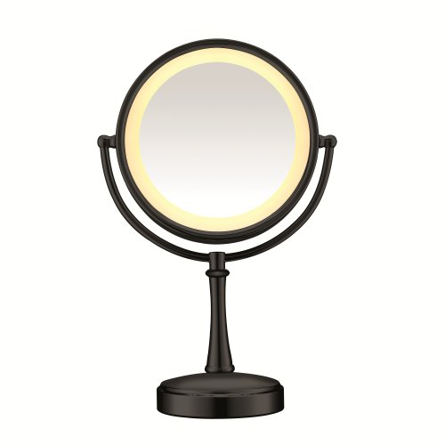 Conair 3-Way Touch Control Double-Sided Lighted Makeup Mirror – Lighted Vanity Makeup Mirror; 1x/7x magnification; Matte Black Finish