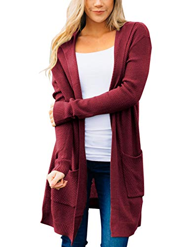 MEROKEETY Women's Long Sleeve Open Front Hoodie Knit Sweater Cardigan with Pockets Burgundy