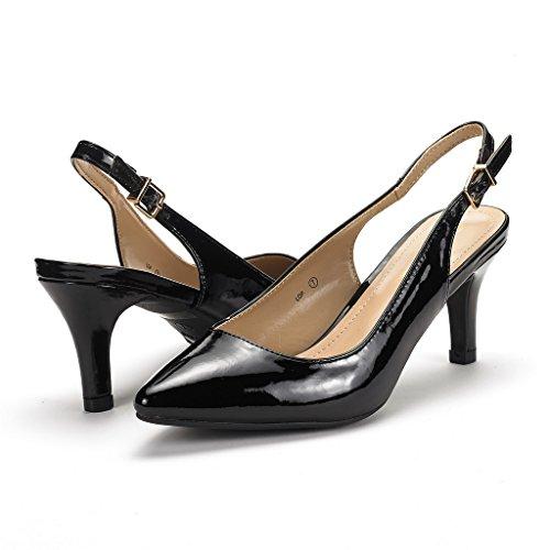 Paires De Rêve Femmes Lop Bas Talon Pompe Chaussures Noir Pat
