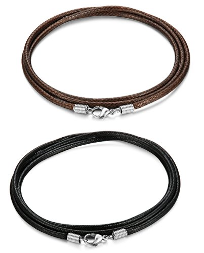 FIBO+STEEL+2+Pcs+2.5MM+Leather+Chain+Necklace+for+Men+Women+Braided+Necklace+Chain%2C16+inches