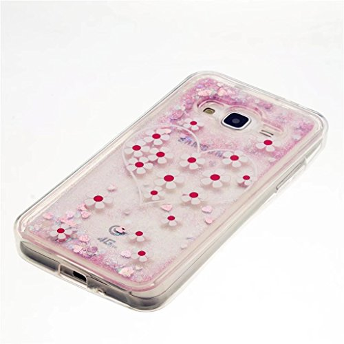Funda para Samsung Galaxy J5 (2015), MUTOUREN Dual Layer 3D Líquido Glitter Glitter Shiny Gloss Sparkle Clear Dynamic Quicksand Case Cover Skin Shell Carcasa Funda, Cubierta de la Caja Funda Protector arena movedizaA10