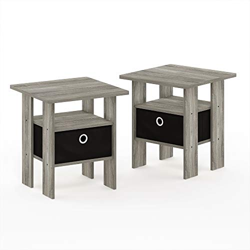 Furinno Andrey End Table Nightstand Set 2 Pack French Oak Grey Pricepulse