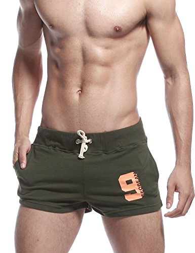 SEOBEAN Mens Low Rise Sports Soft Running Training Short Pants (Medium/28-30Inch, 2301 Army Green)