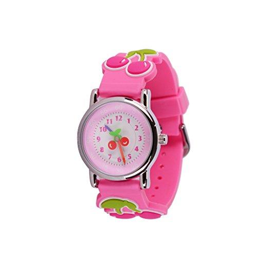 Wolfteeth Analog Quarz Little Girls Watch Cartoon Cherry Pink White Dial Waterproof Simple Designer Girls Wrist Watch #303605 ()