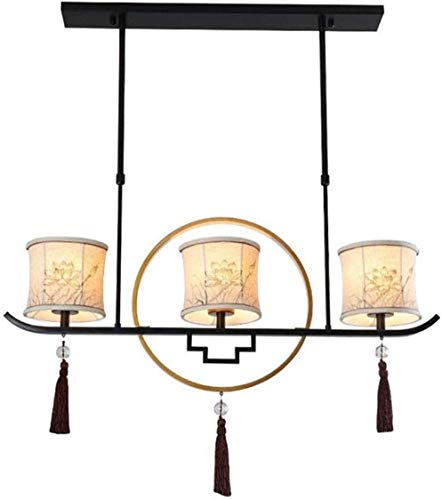 Hanging Ceiling Pendant Light Odern Chinese Three-Headed Zen Tea Room New Chinese Restaurant Ceiling Lamp Creative Antique Study Bar Table Cloth Chandelier