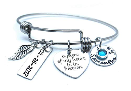 A Piece of My Heart is in Heaven Bracelet, Name and Date Bracelet, Personalized Memorial Bracelet, Angel Wing Bracelet