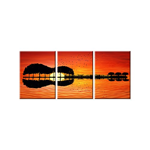 Modern Guitar Tree Lake Sunset Art Canvas Painting Living Room Decorating - 3 Panel Large Painting Home Decor HD Printed Artwork Poster Framed Ready to Hang (20