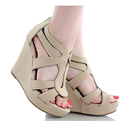 Women's Strappy Open Toe Platform Wedge Beige 10 For Sale