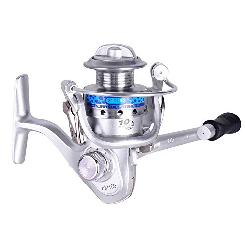 (Domybest Mini Spinning Fishing Reel, FM150 10BB 5.2:1 Left/Right Interchangeable Rocker Smooth and Light Weight Metal Fishing Reel)