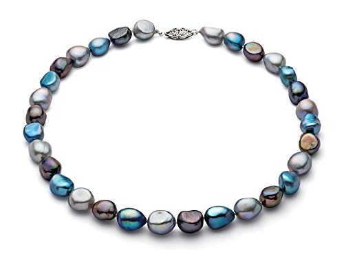 - 9-10mm Multicolor Freshwater Cultured Pearl Necklace AA+ Quality Sterling Silver Clasp, 18
