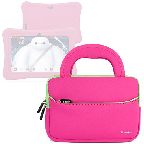 Evecase Neoprene Sleeve Carrying Case Bag for Express Y88X / Y88X Plus 2017 Disney Edition 7-inch Kids / Dragon Touch Android Tablet – Hot Pink with Handle and Accessory Pocket (Disney Tablet Carrying Case)