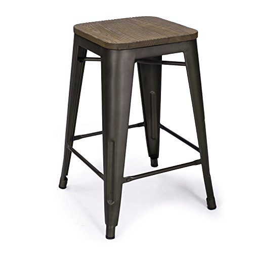 Adeco 24 Quot Metal Counter Stools Vintage Wood Seat Top