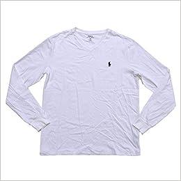1b9594895 Amazon.com: Polo Ralph Lauren V-neck T-shirt Mens Long Sleeve Classic Fit  (S, Classic White) (0190760436499): Books