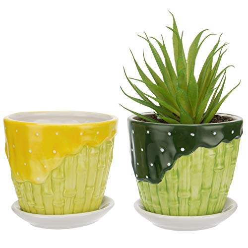MyGift Bamboo Garden Series Ceramic Flower Pot Planter w/ Attached Saucer - Set of 2 - Green & ()