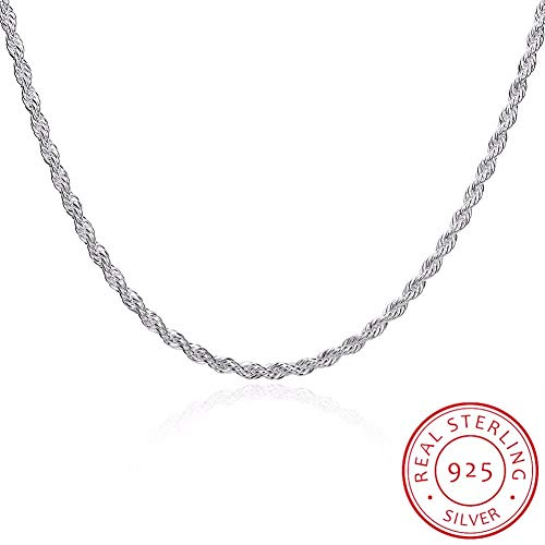 GYXYZB Fine Jewelry 3Mm Twisted Rope Chain Necklace Size 16 '' 18 '' 20 '' 22 '' 24 '' 925 Sterling Silver Charm Necklace Colar