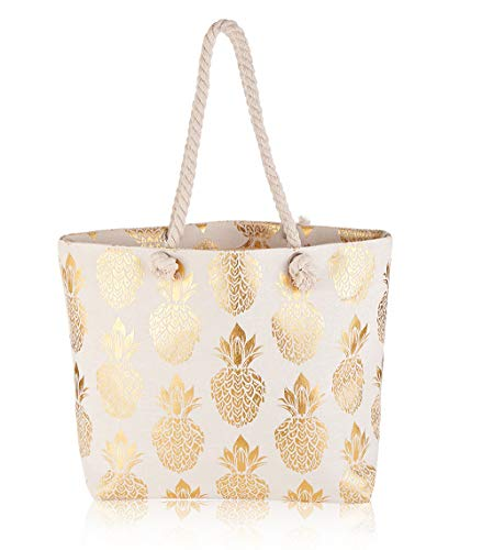 Large Pineapple Print Canvas Beach Tote Bag, Inner Zipper Pocket, Women Shoulder Handbag with Rope Handles for Shopping Holiday Work Travel [gold] ()