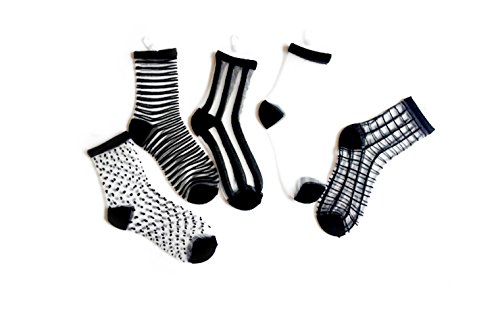 Sheer Ankle Socks (Eliffete Black Socks Pack of 5 Ankle High Stockings Casual Tights for Teenagers)