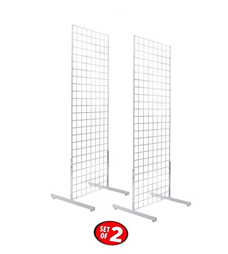 Only Hangers 2' x 6' Gridwall Panel Tower with T-Base Floorstanding Display Kit, 2-Pack White ...