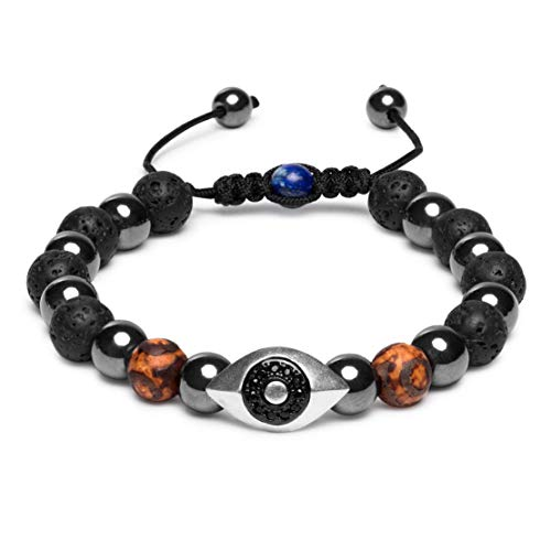 Karseer Vintage Silver Black Plated Hamsa Evil Eye Stress Relief Reiki Healing Bracelet Natural Hematite Agate Dzi Lava Rock Lapis Lazuli Beaded Macrame Adjustable Anti Anxiety Diffuser Bracelet
