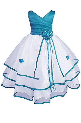 AMJ Dresses Inc Big-Girls' Turquoise Flower Girl Pageant Dress Q138 Sz 12]()