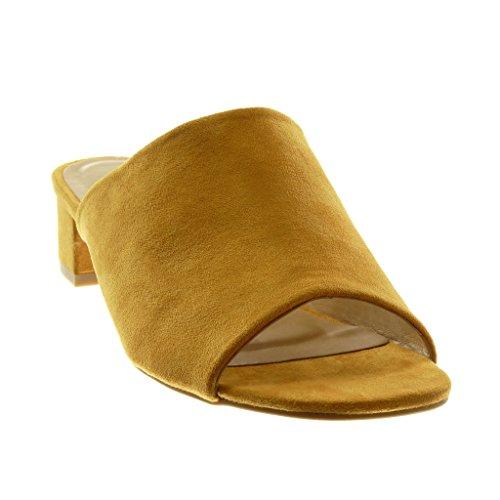 Angkorly Zapatillas Moda Sandalias Mules Slip-On Peep-Toe Mujer Tacón Ancho Alto 4 cm Mostaza