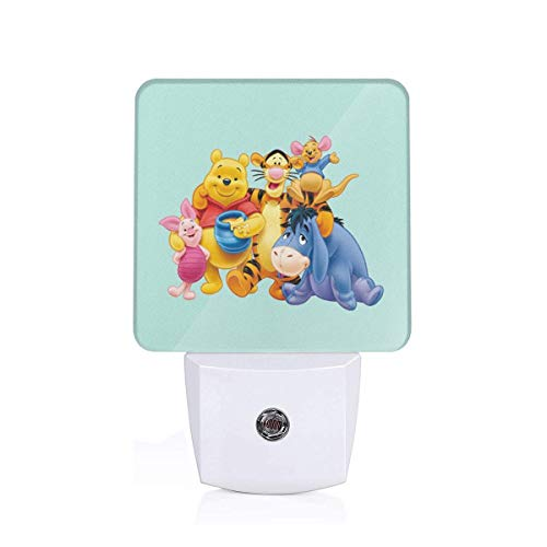 (MPJTJGWZ LED Night Light with Auto ON/Off and Dusk to Dawn Sensor, Winnie The Pooh for Bedroom Bathroom Dark Room)