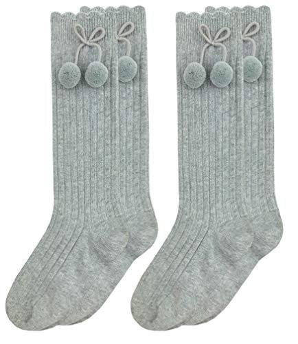 Jefferies Socks Girls Pom Pom Bow Cotton Knee High Socks 2 Pair Pack