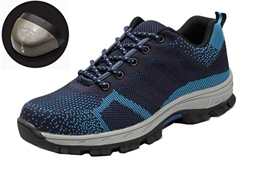 Beeagle Mens Womens Unisex Steel Toe Work Shoes Industrial Construction Puncture Proof Safety Shoes Blue ()