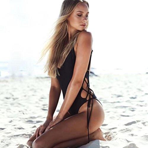 Witsaye Donna Bikini Sexy, Ragazze Moda Costumi da Bagno Interi Reggiseno Push up Novità Bikini Entrambe le Parti Cinghia Costumi da Bagno Beachwear Costume da Bagno per Donna, Nero
