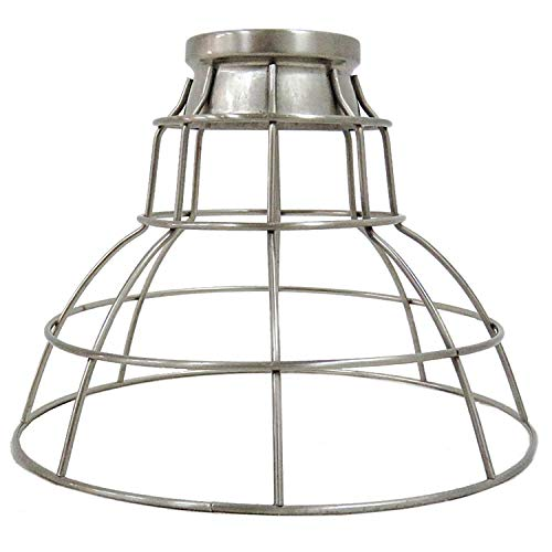 (Portfolio S9823BNK 7-in H 9-in W Brushed Nickel Wire Industrial Cage Pendant Light Shade)
