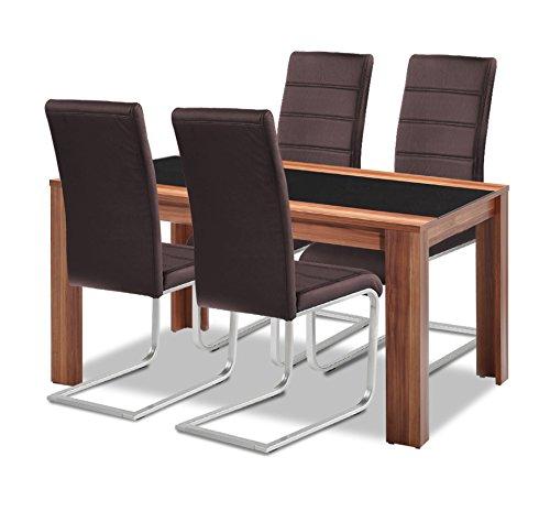 Agionda Esstisch + Stuhlset   1 x Esstisch Orlando + 4 Freischwinger braun