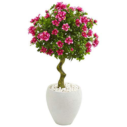Nearly Natural 9296 39-in. Azalea Artificial Topiary White Planter Silk Trees Pink