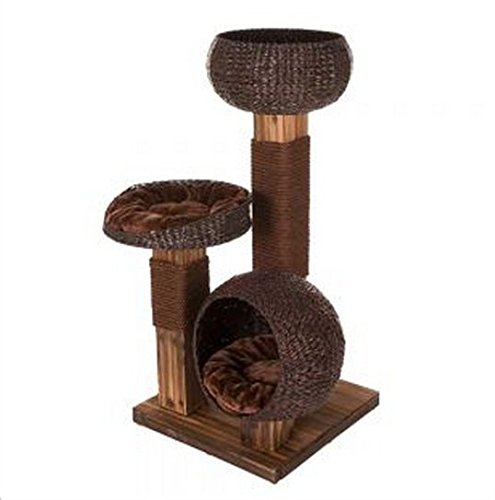 Contemporary-Wooden-Cat-Tree-A-Lovely-Scratching-Post-Made-Of-Woven-Water-Hyacinth-Baskets-Great-Indoor-Or-Outdoor-Activity-Center-For-Cats