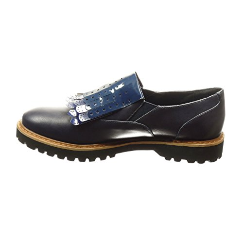 Angkorly - Chaussure Mode Mocassin Derbies slip-on femme frange perforée verni Talon bloc 2.5 CM - Bleu