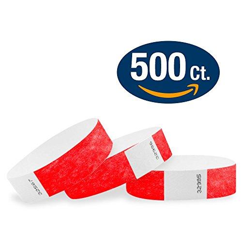 "WristCo Neon Red 3/4"" Tyvek Wristbands - 500 Pack Paper Wris"
